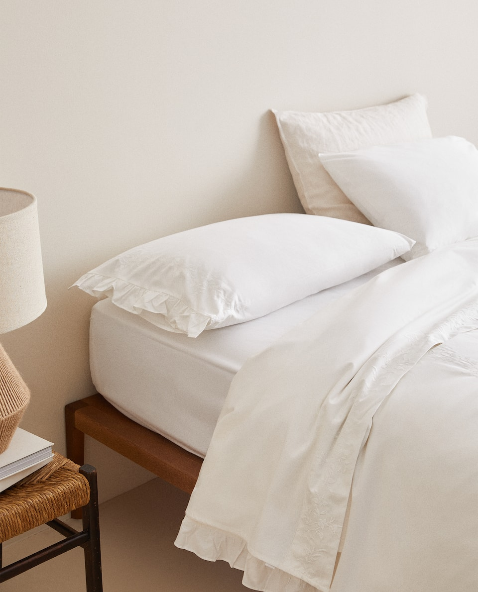 EMBROIDERED DUVET COVER WITH RUFFLE