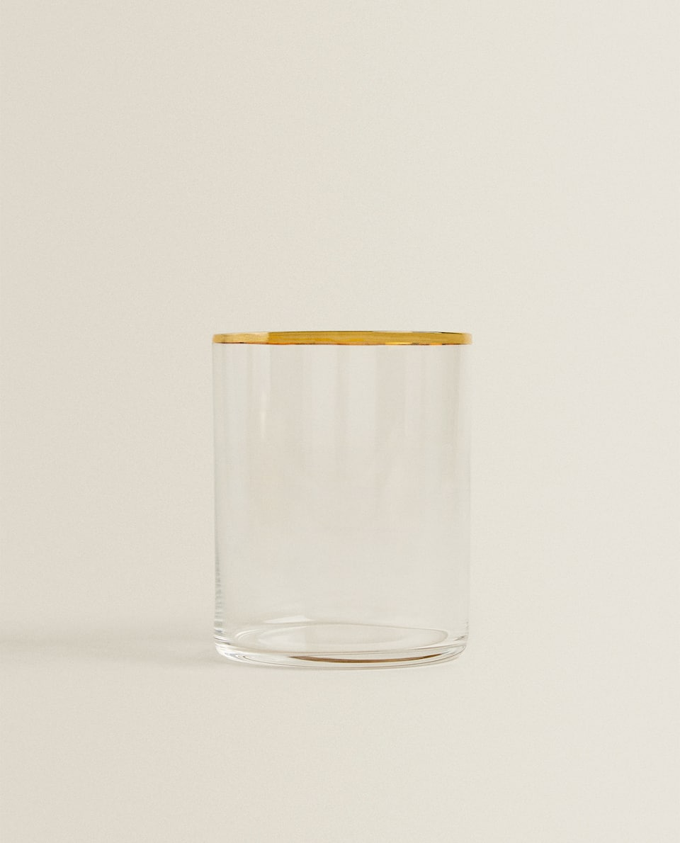 STRAIGHT CRYSTALLINE TUMBLER WITH GOLD RIM