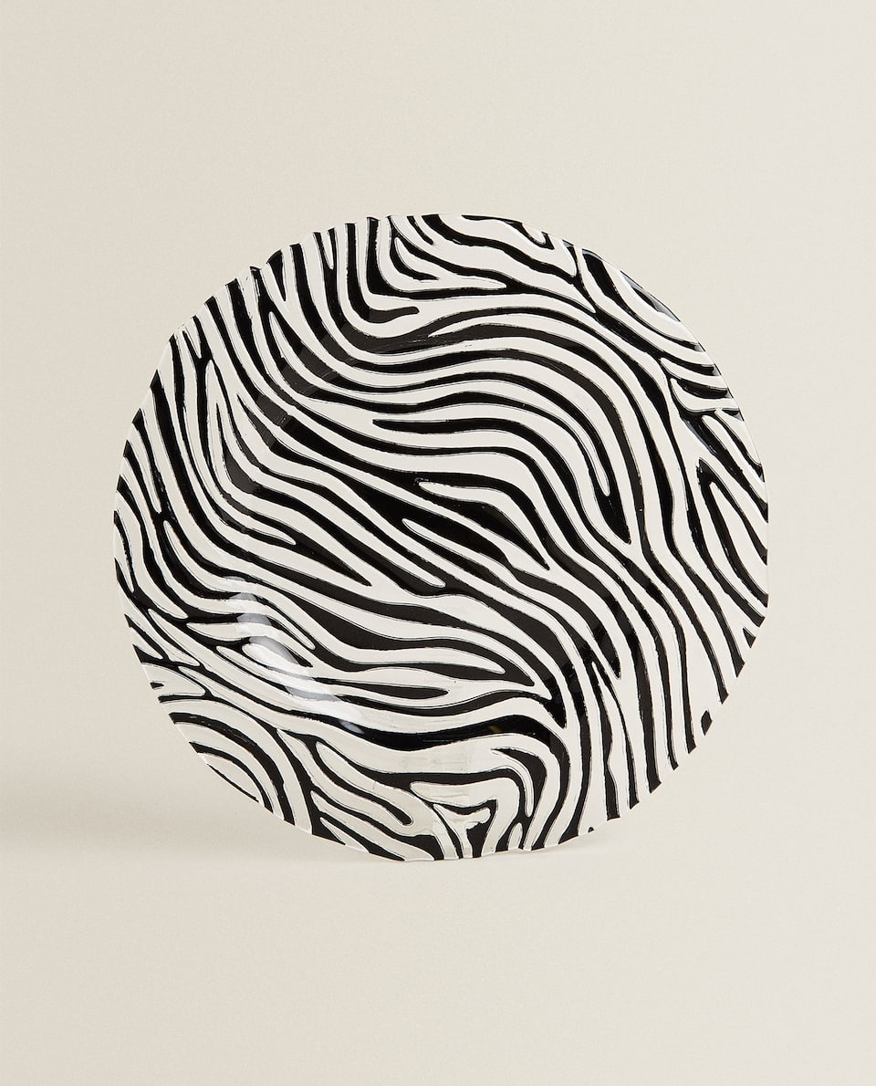 GLASS SERVICE PLATE WITH ZEBRA PRINT