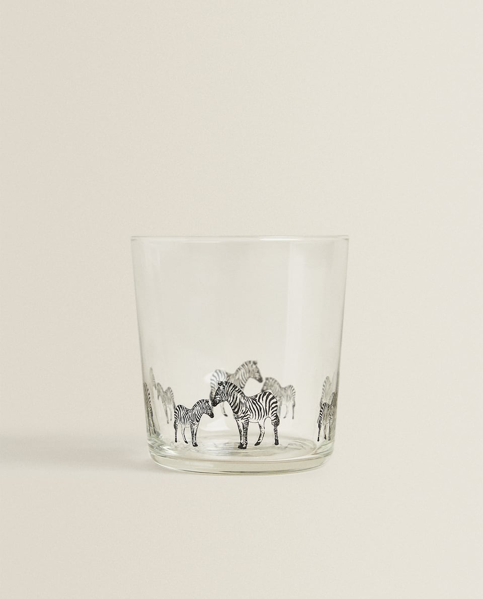ZEBRA TRANSFER GLASS TUMBLER