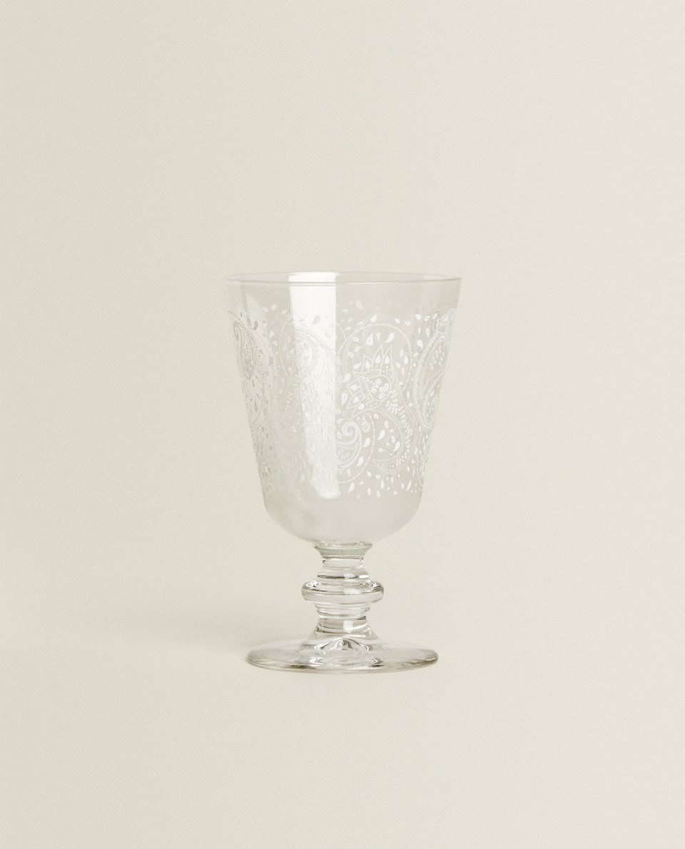 PAISLEY TRANSFER WINE GLASS