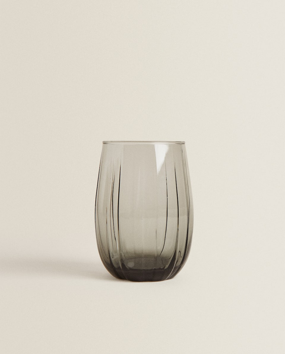 GLASS TUMBLER WITH COLOURED LINES