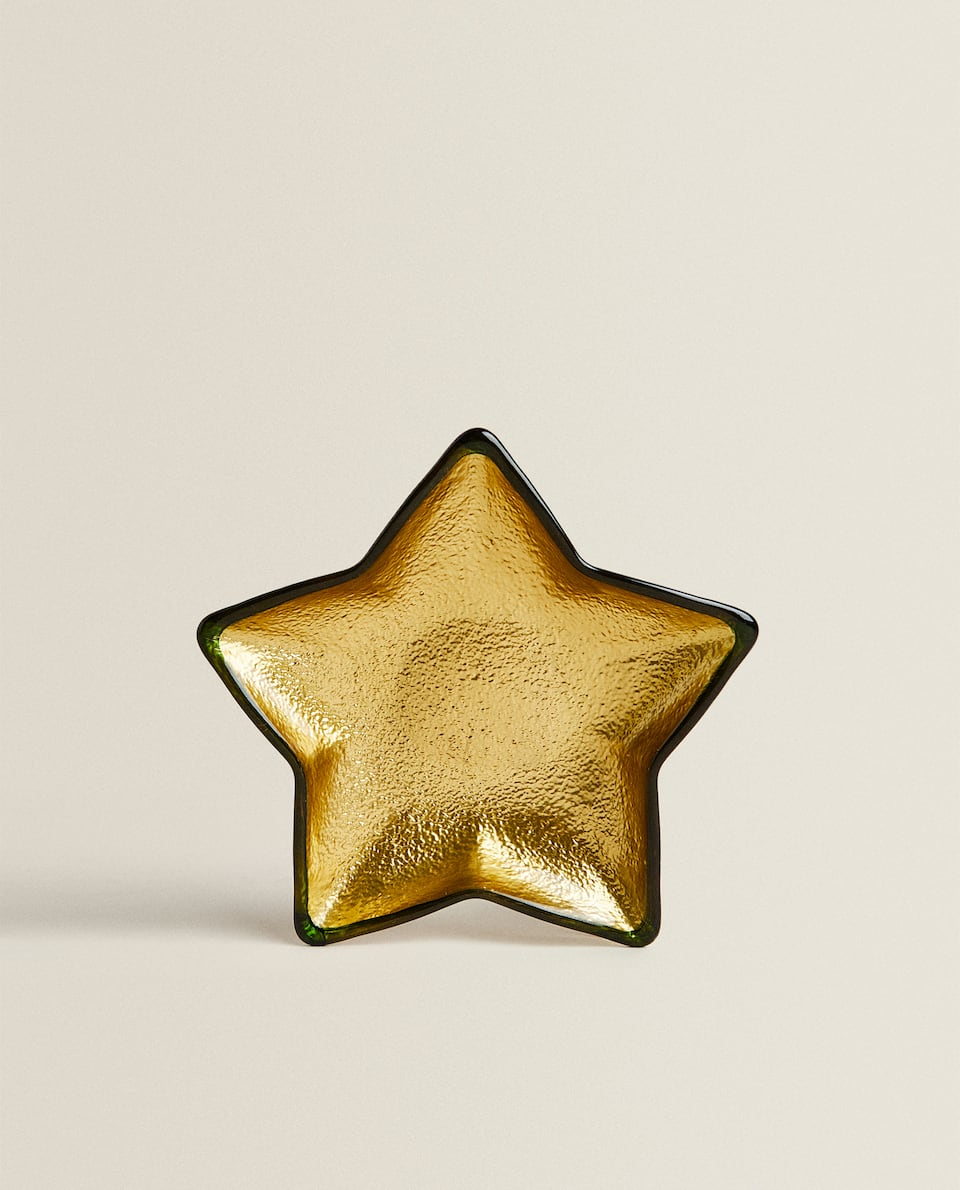 GLASS STAR BOWL WITH GOLD FOIL