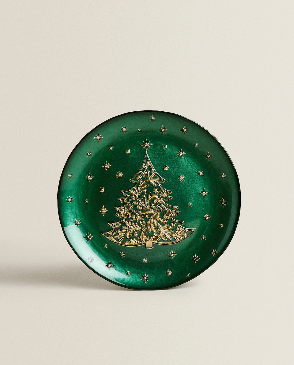 CHRISTMAS DESSERT PLATE WITH RAISED GOLD DESIGN