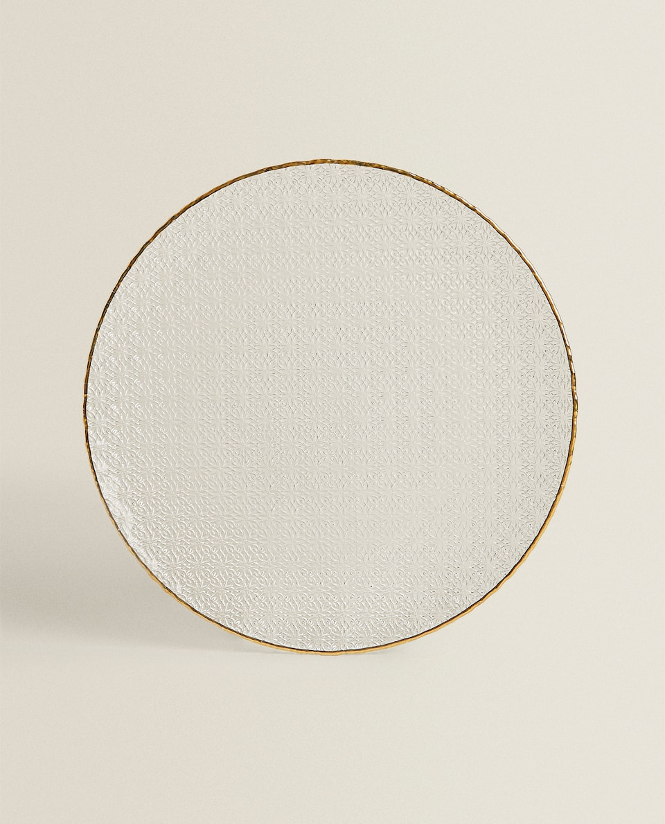 GLASS SERVICE PLATE WITH RAISED GOLD RIM