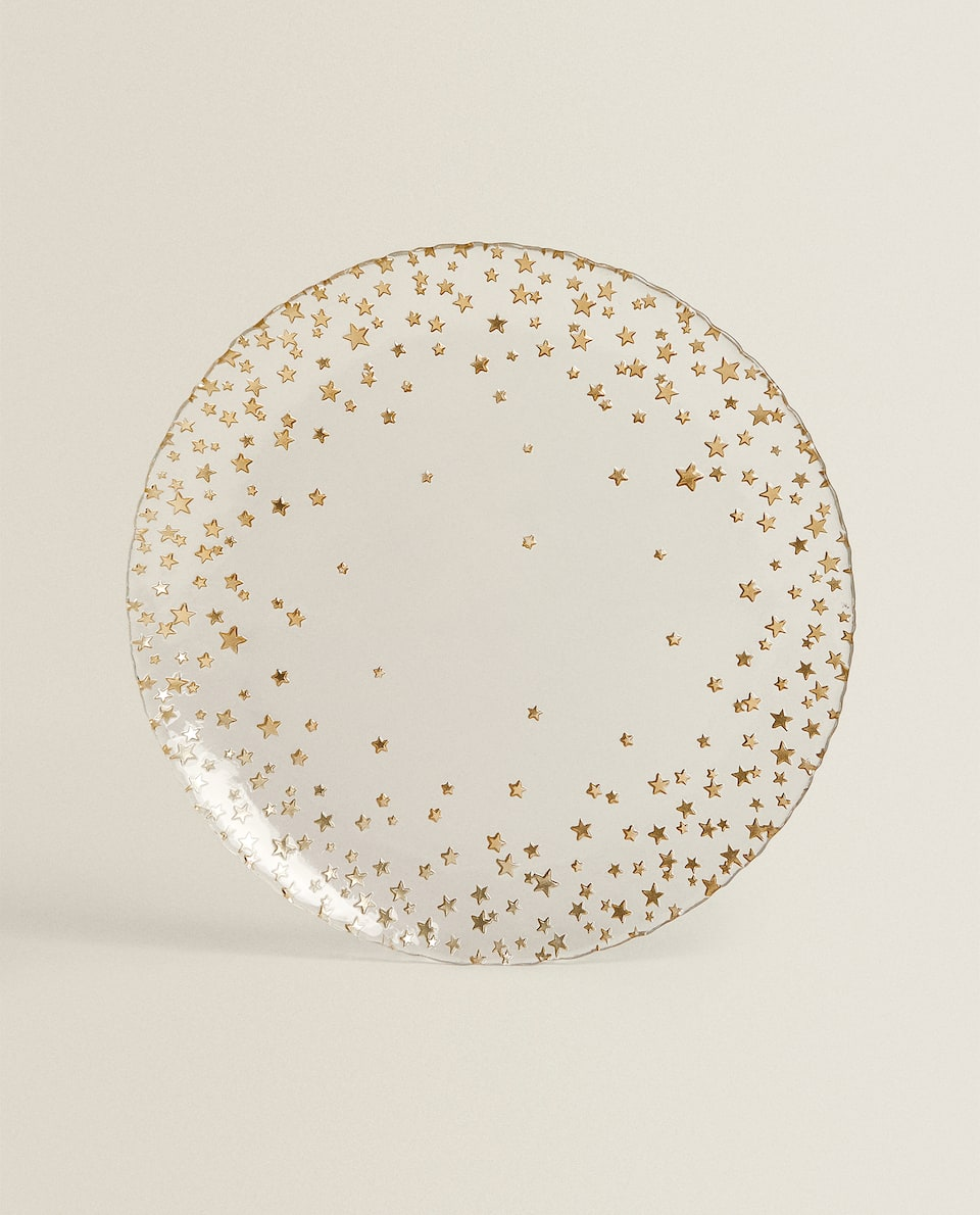 GLASS SERVICE PLATE WITH STARS