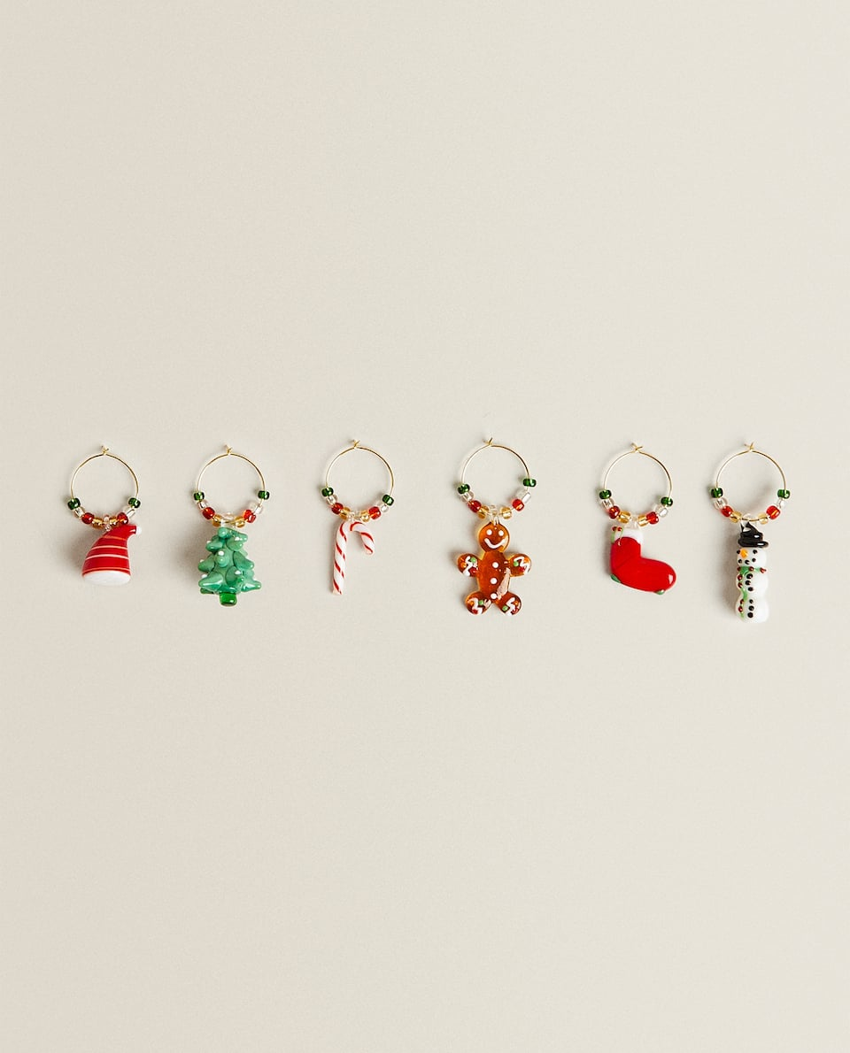 CHRISTMAS GLASS DECORATIONS (PACK OF 6)