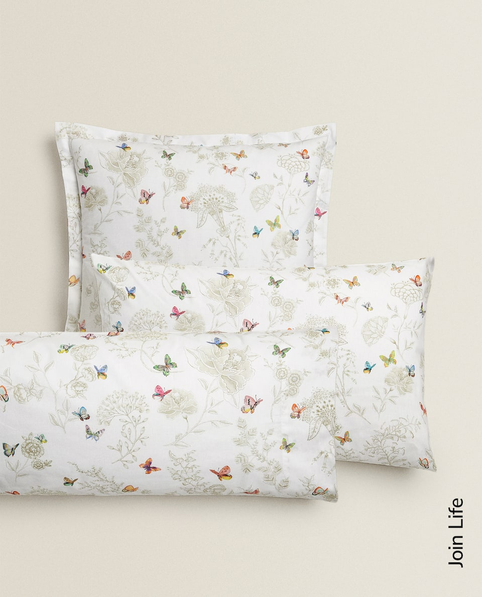 FLOWERS AND BUTTERFLIES PILLOWCASE