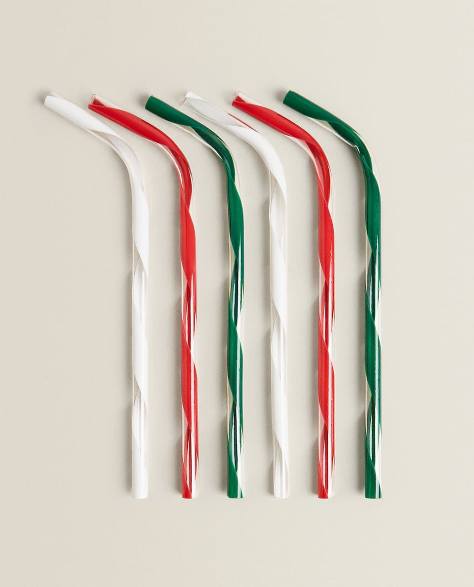 MULTICOLOURED ACRYLIC STRAWS (PACK OF 6)