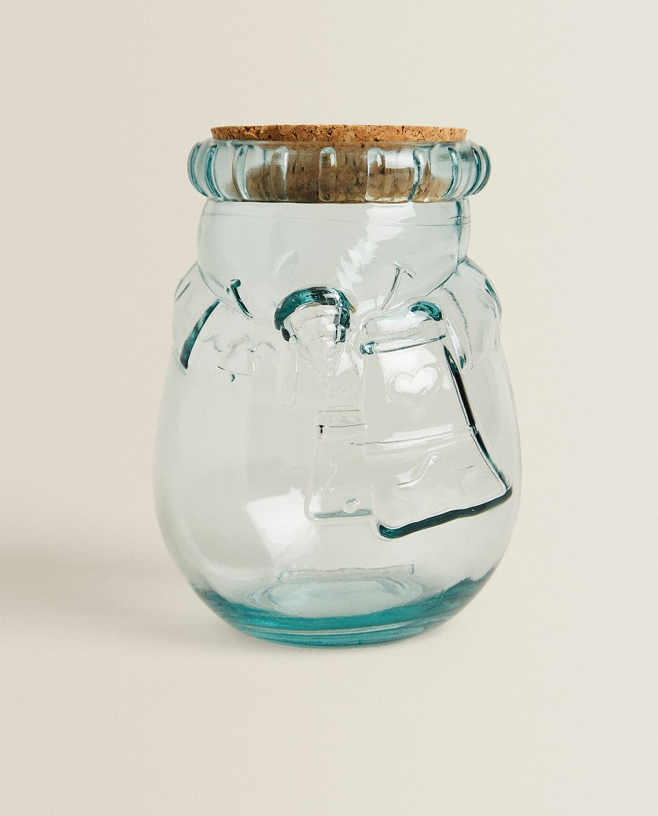 RAISED CHRISTMAS GLASS JAR