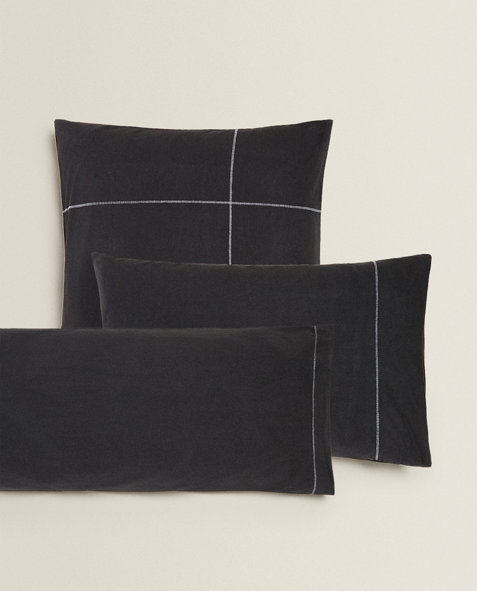 EMBROIDERED PILLOWCASE WITH SEAM DETAILS