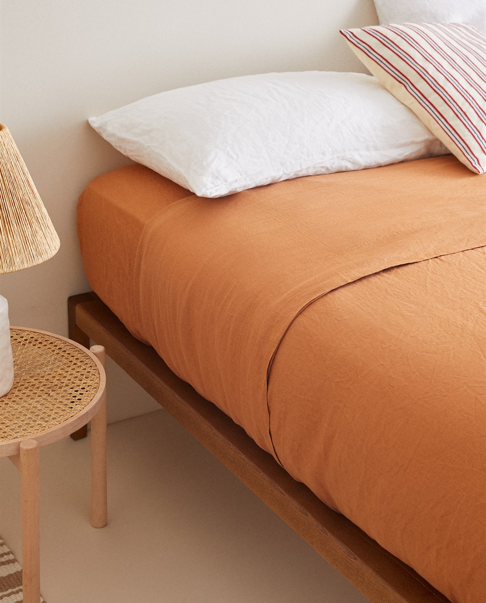 TERRACOTTA WASHED LINEN DUVET COVER