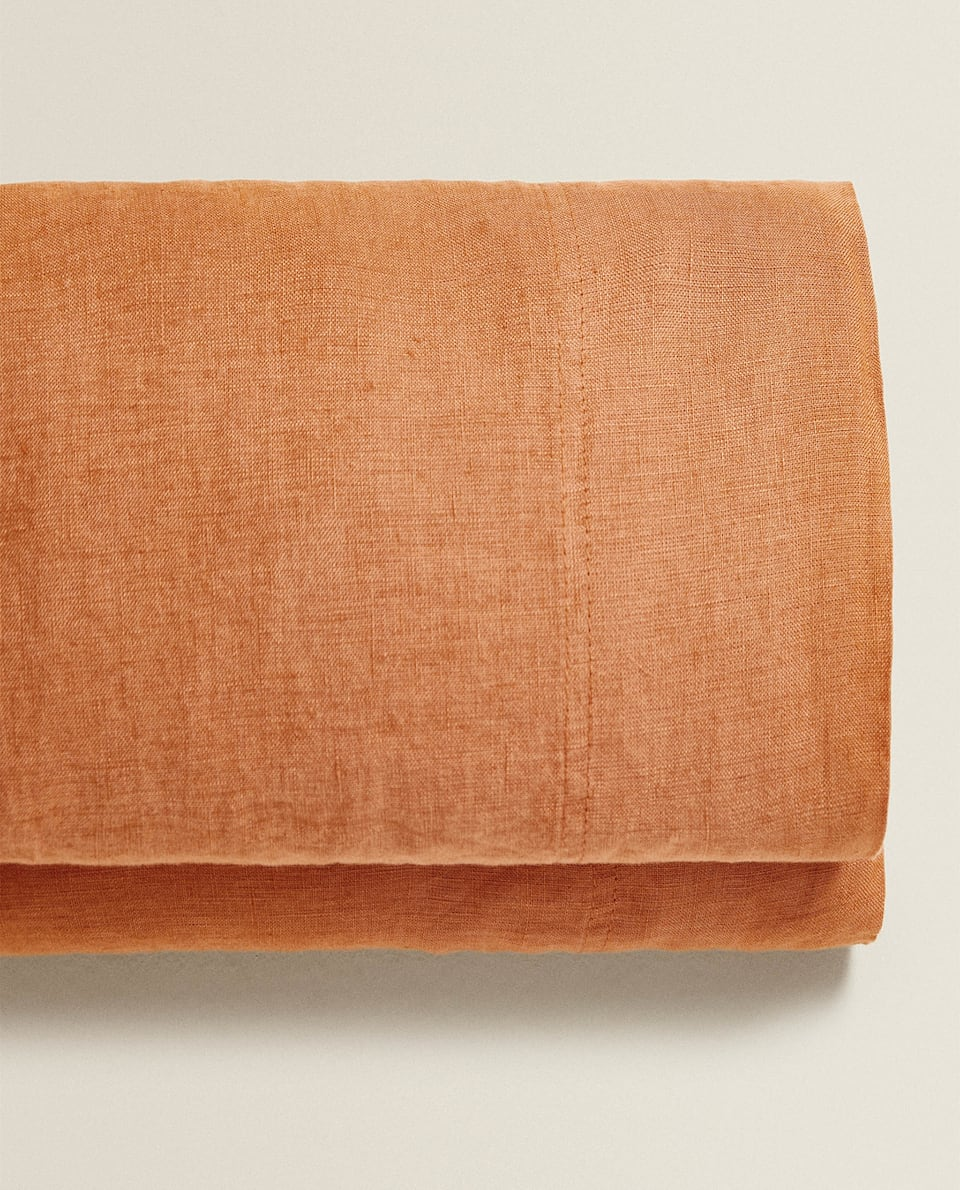 TERRACOTTA WASHED LINEN FLAT SHEET