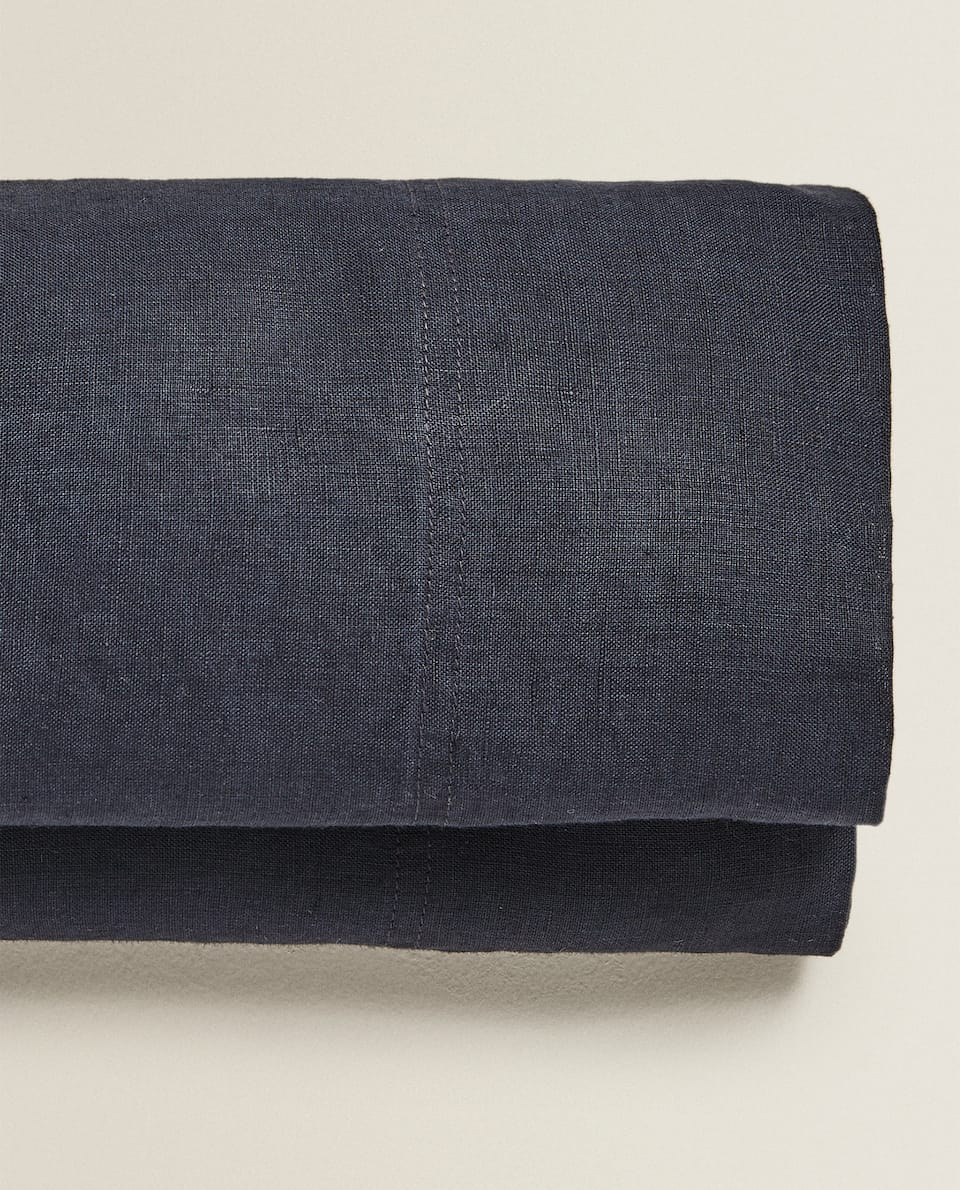 NAVY WASHED LINEN FLAT SHEET