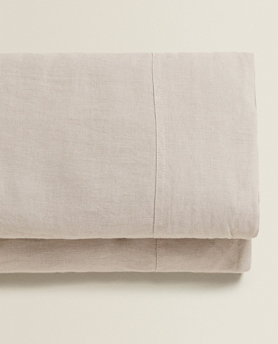 TAUPE WASHED LINEN FLAT SHEET