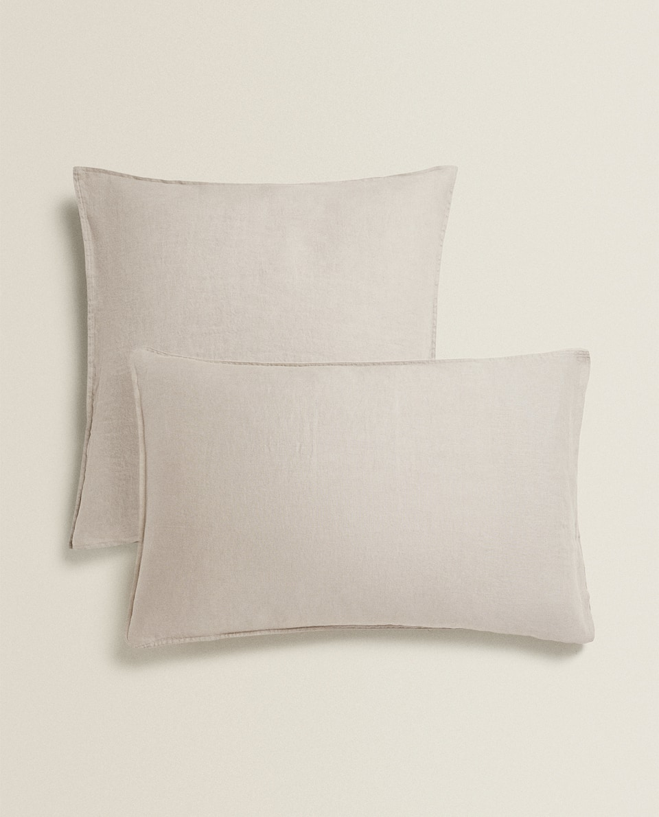 TAUPE WASHED LINEN PILLOWCASE