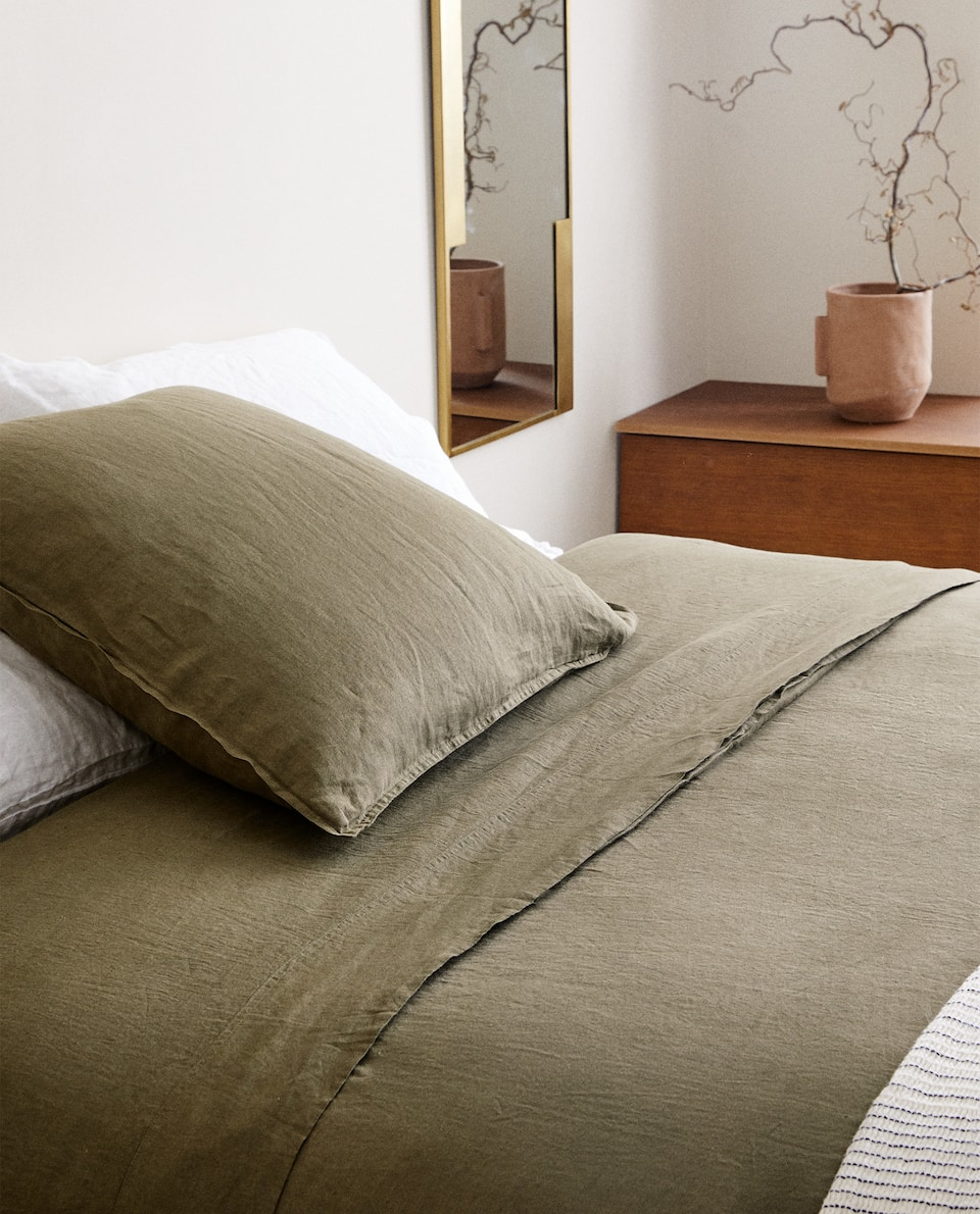 KAHKI WASHED LINEN DUVET COVER