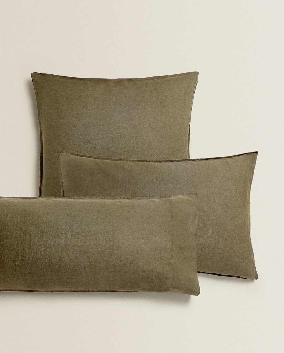 KAHKI WASHED LINEN PILLOWCASE