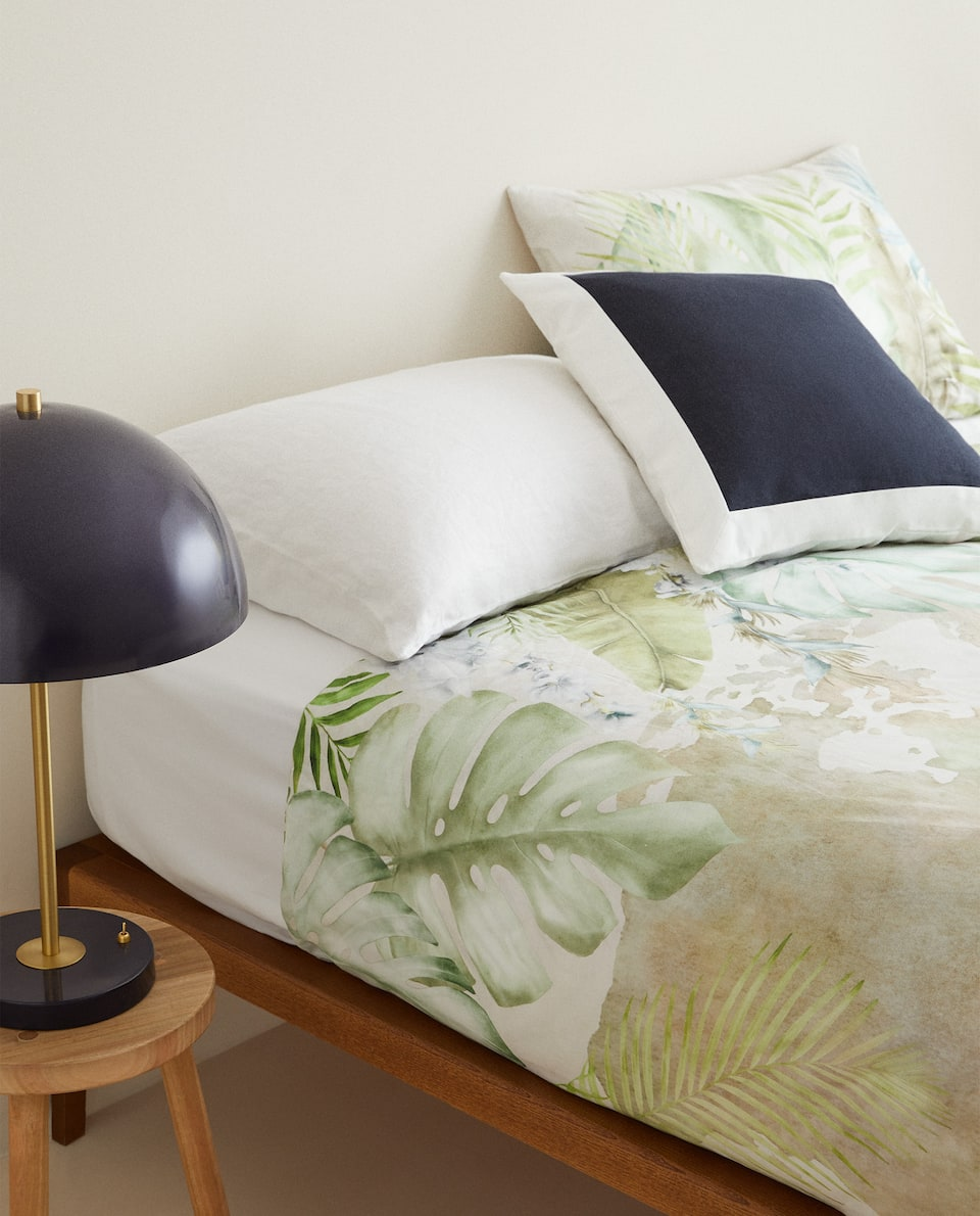TROPICAL LEAF PRINT DUVET COVER