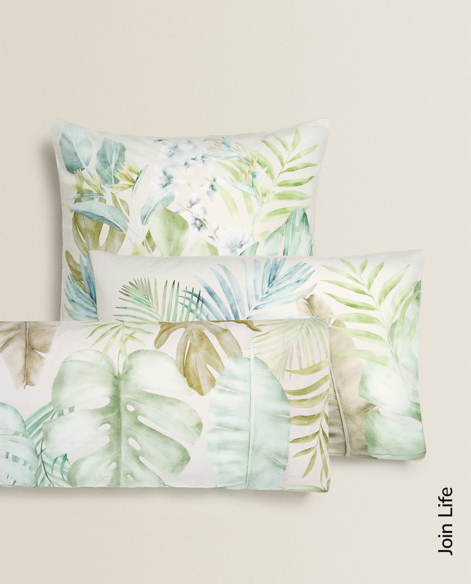 TROPICAL LEAF PRINT PILLOWCASE