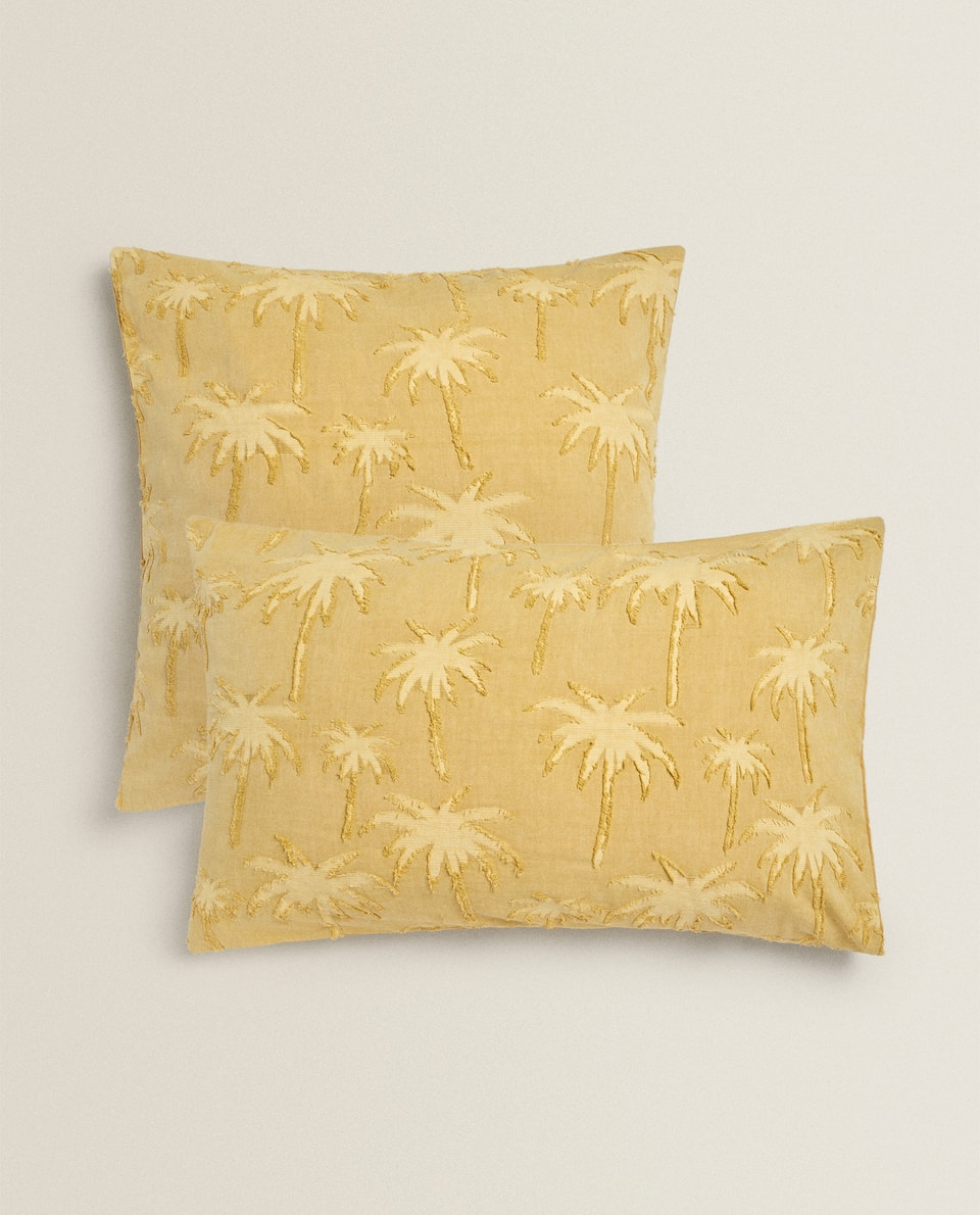 JACQUARD PALM TREE PILLOWCASE