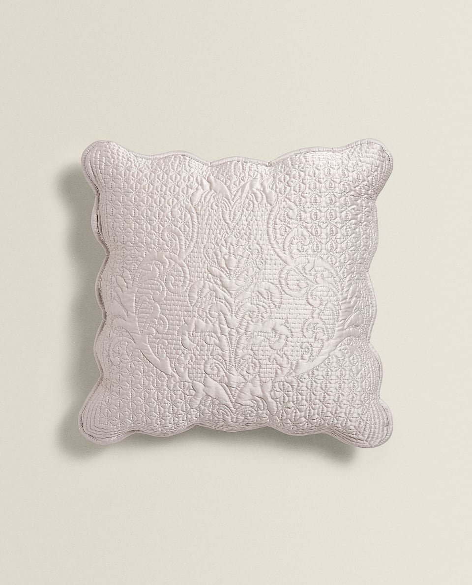 SCALLOPED-EDGE RAISED DAMASK CUSHION COVER