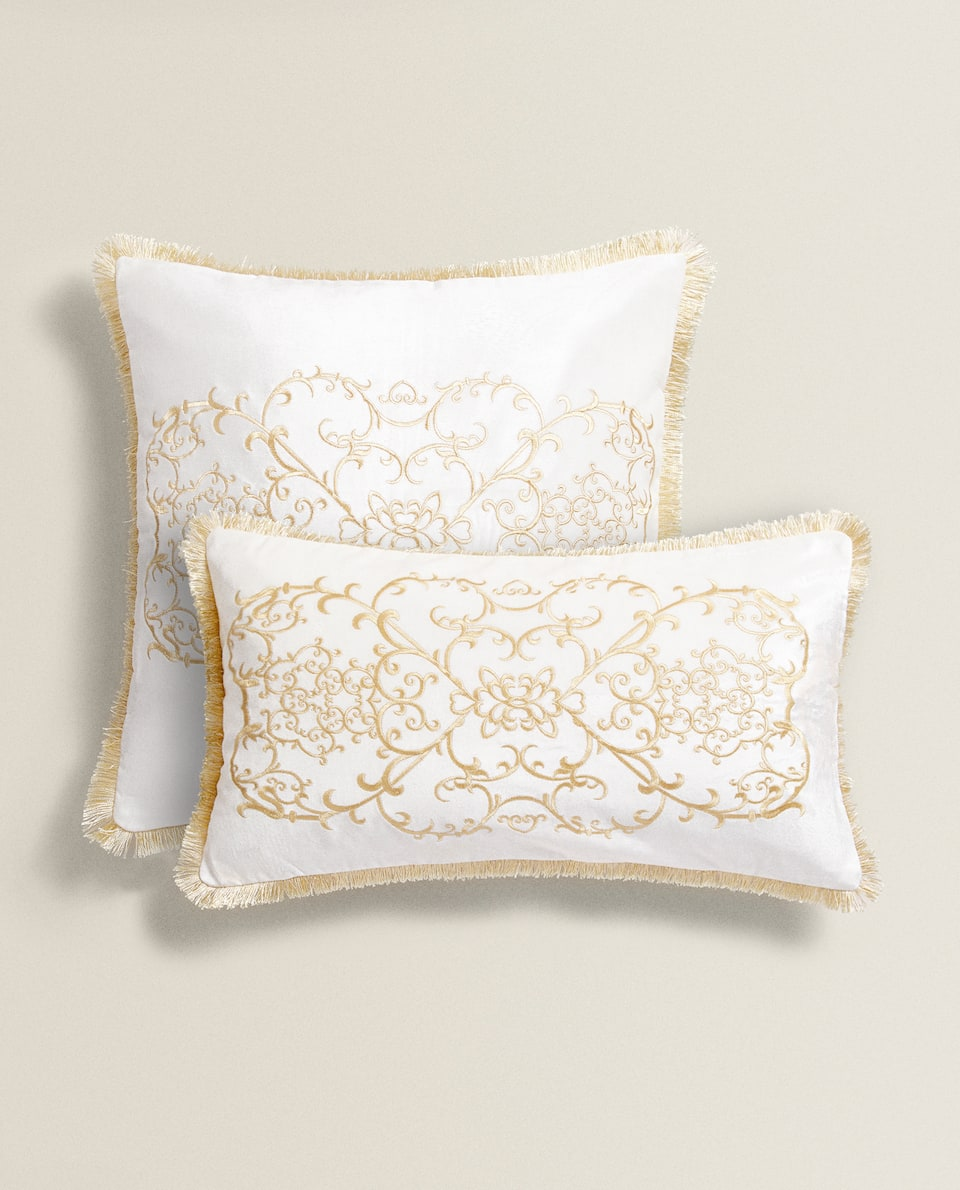 DAMASK EMBROIDERED CUSHION COVER
