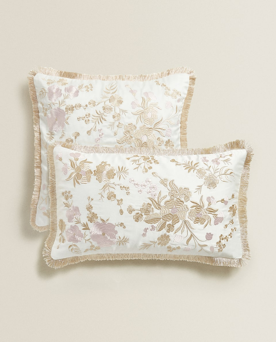 CUSHION COVER WITH FLORAL EMBROIDERY