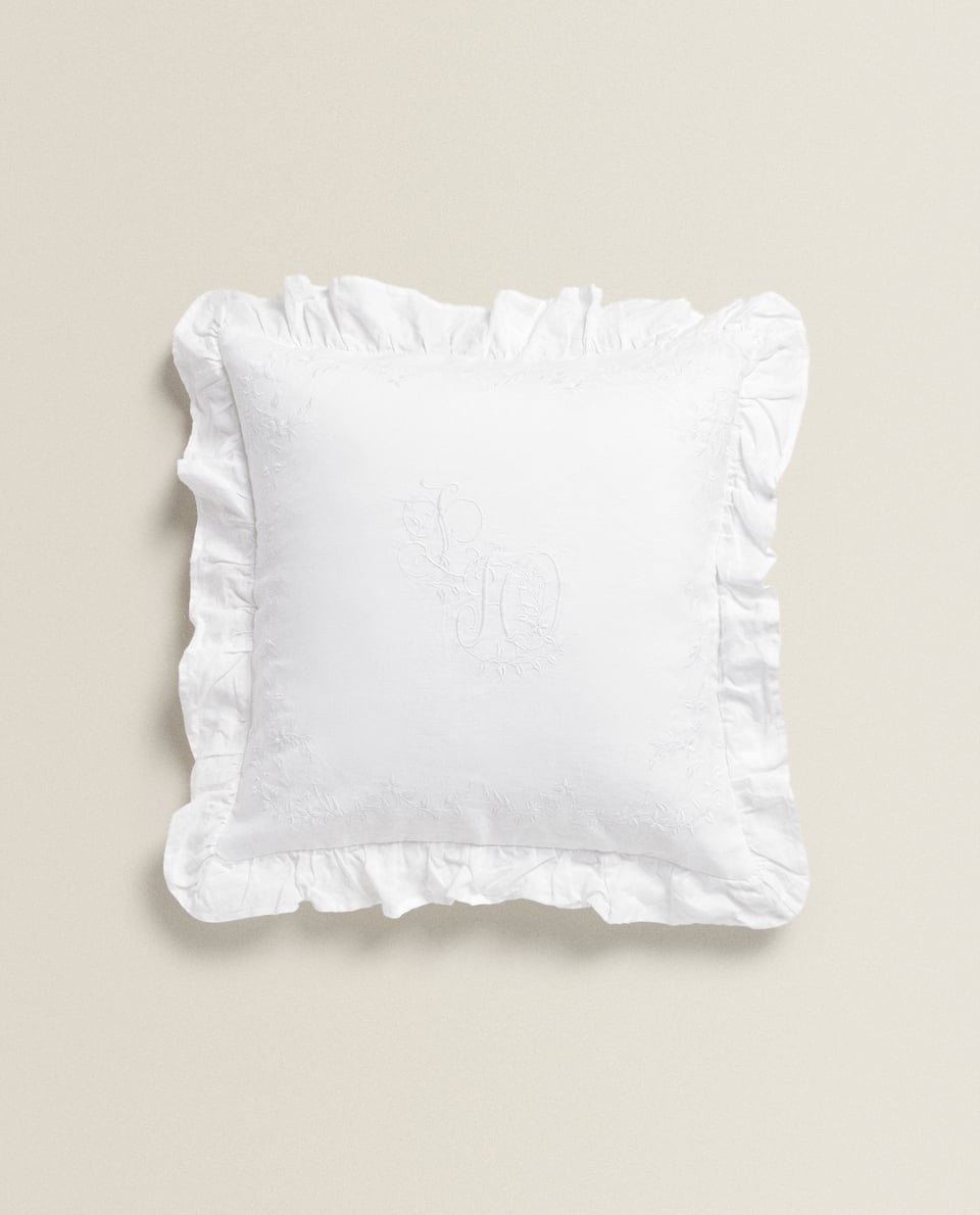EMBROIDERED LINEN CUSHION COVER