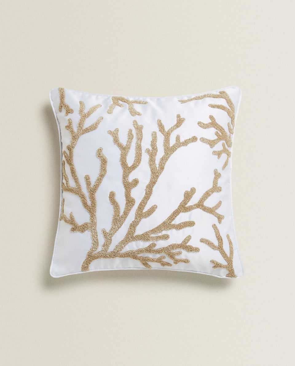 CORAL EMBROIDERED CUSHION COVER
