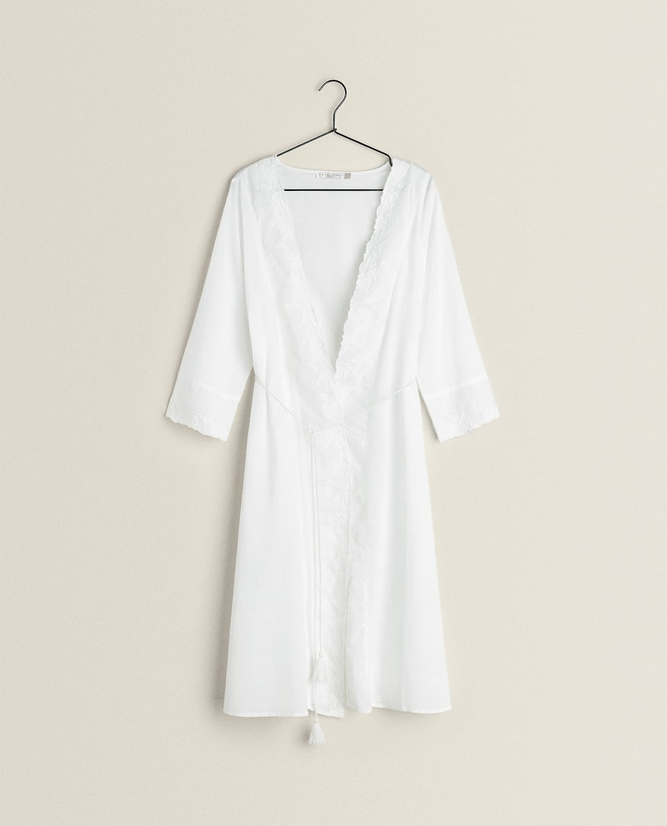 COTTON DRESSING GOWN WITH EMBROIDERY