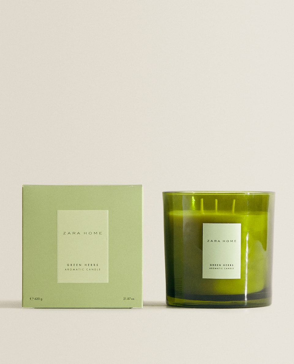 (620 G) GREEN HERBS SCENTED CANDLE