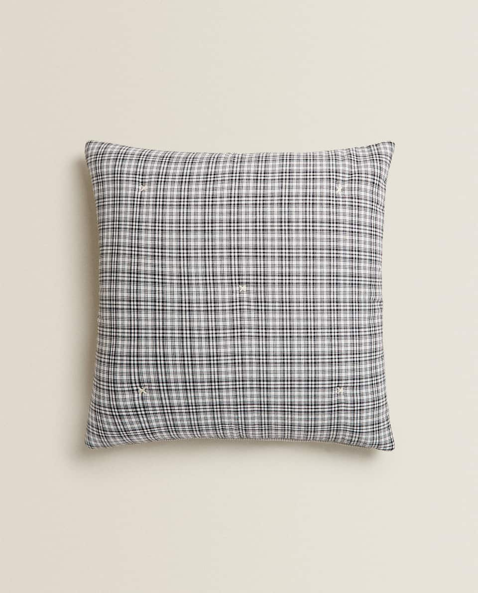 REVERSIBLE STRIPED AND CHECK CUSHION COVER