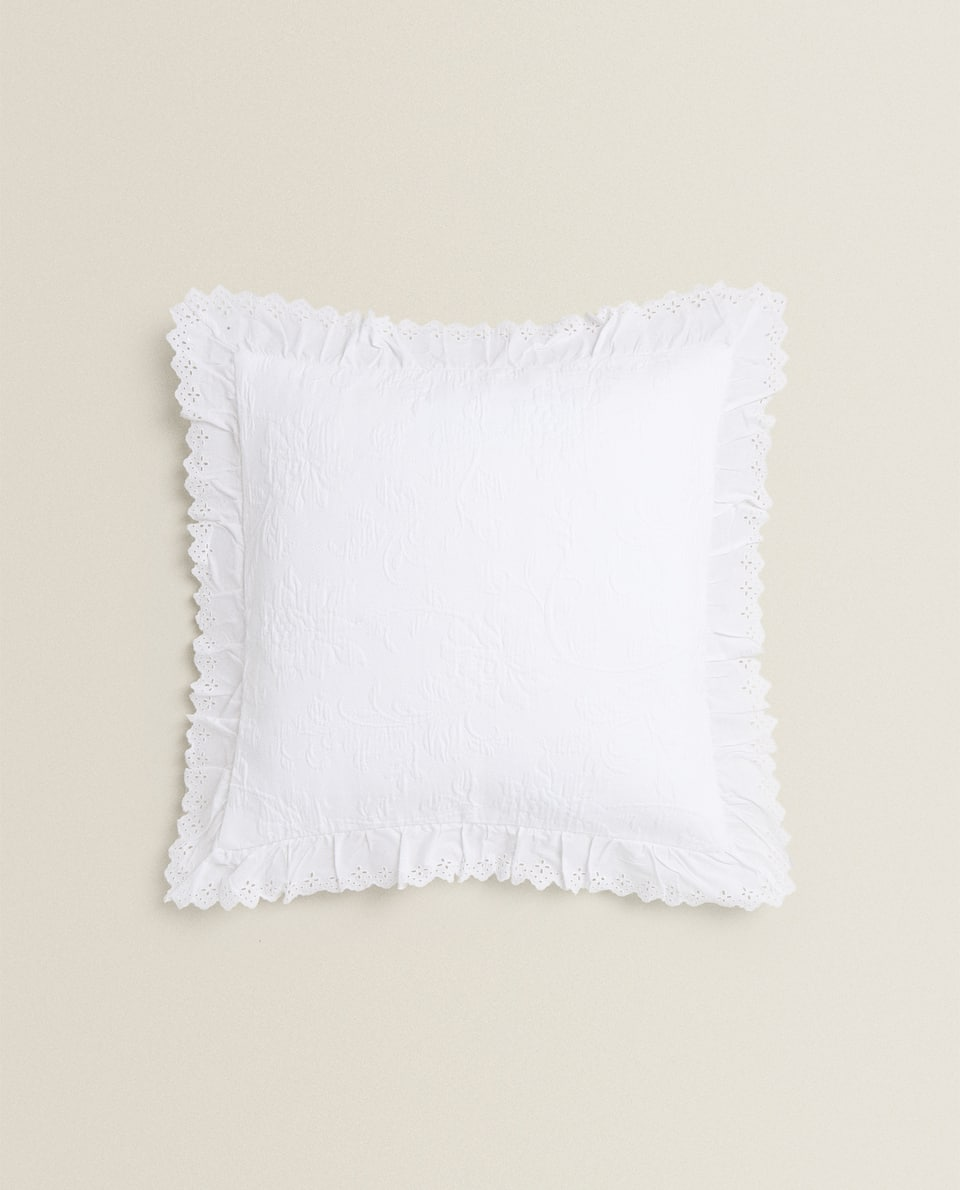 FRILLED COTTON CUSHION COVER