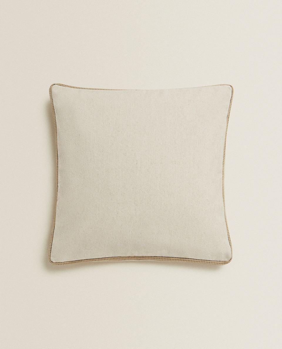 LINEN THROW PILLOW WITH TRIM
