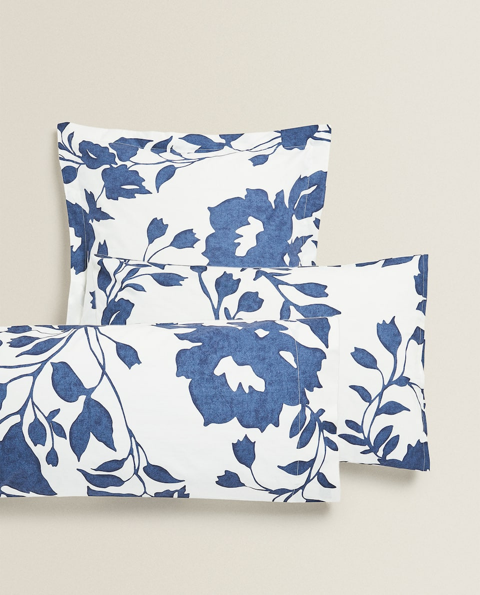 BLUE FLORAL PRINT PILLOWCASE