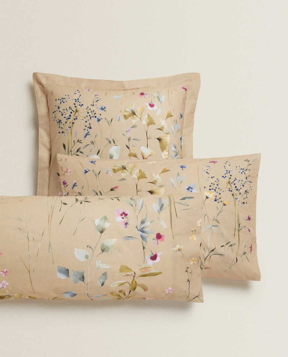 CAMEL FLORAL PRINT PILLOWCASE