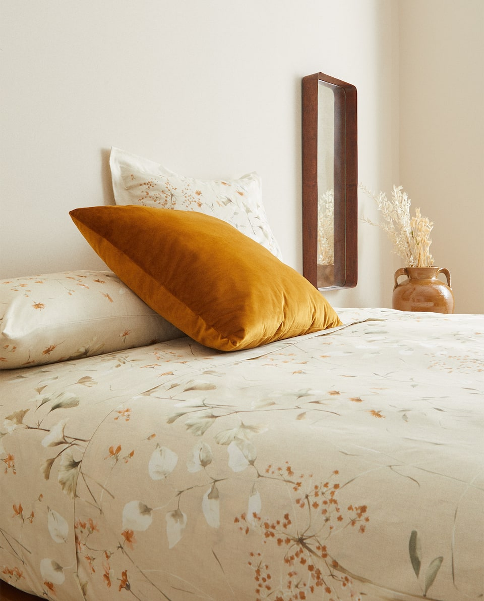 LIGHT BEIGE FLORAL PRINT DUVET COVER