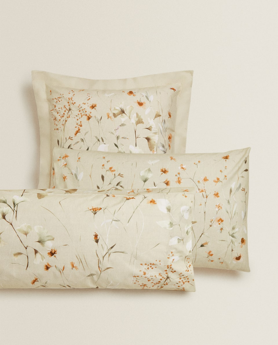 LIGHT BEIGE FLORAL PRINT PILLOWCASE