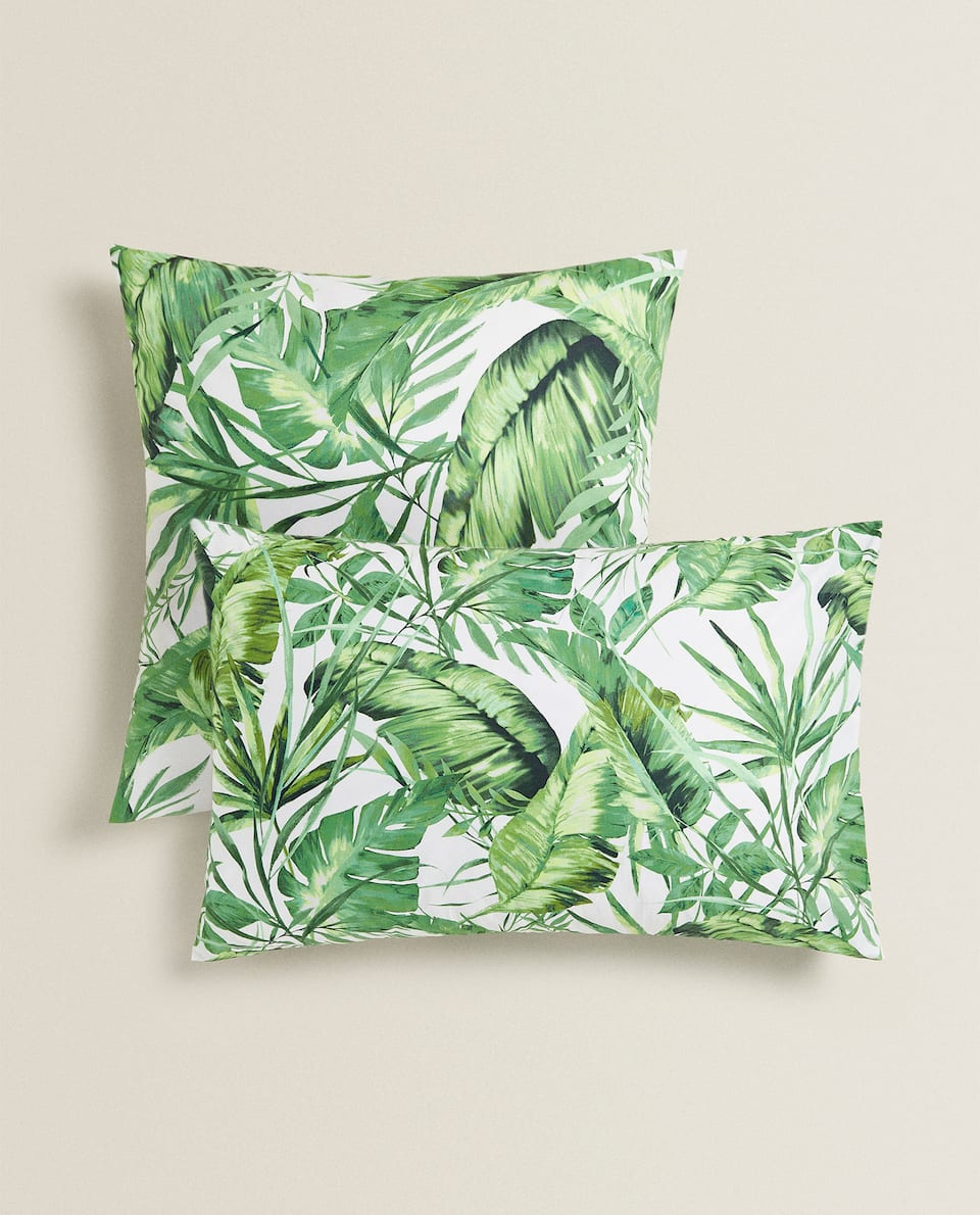 JUNGLE LEAF PRINT PILLOWCASES