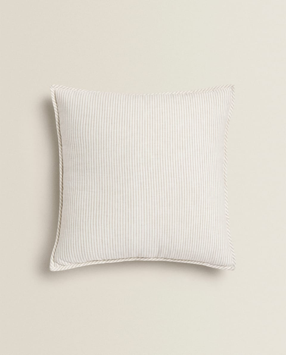 REVERSIBLE STRIPED LINEN THROW PILLOW