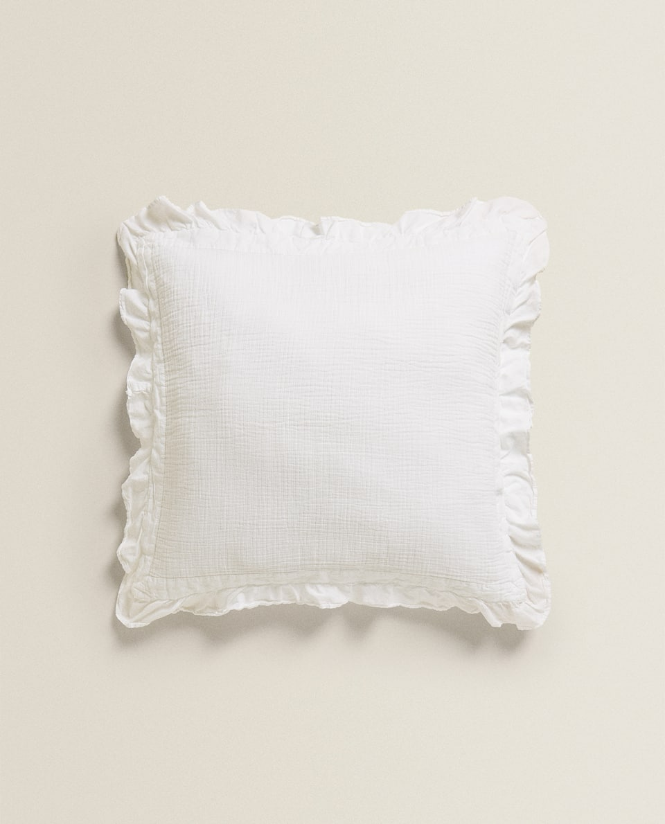 RUFFLED CHIFFON CUSHION COVER