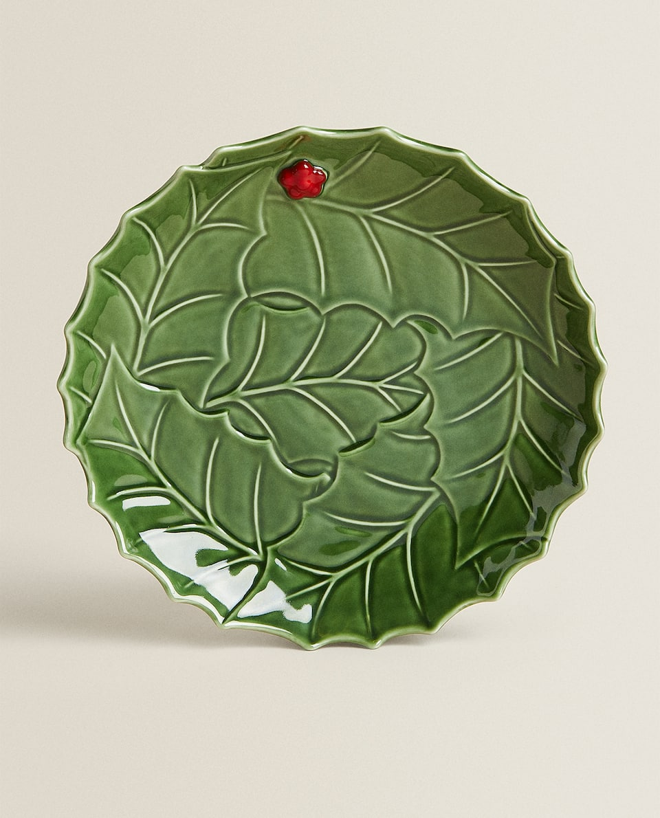 ROUND HOLLY LEAF SERVING DISH