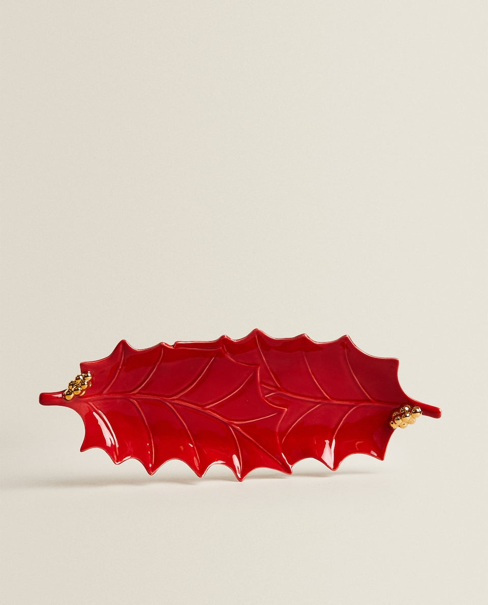 RECTANGULAR HOLLY LEAF SERVING DISH