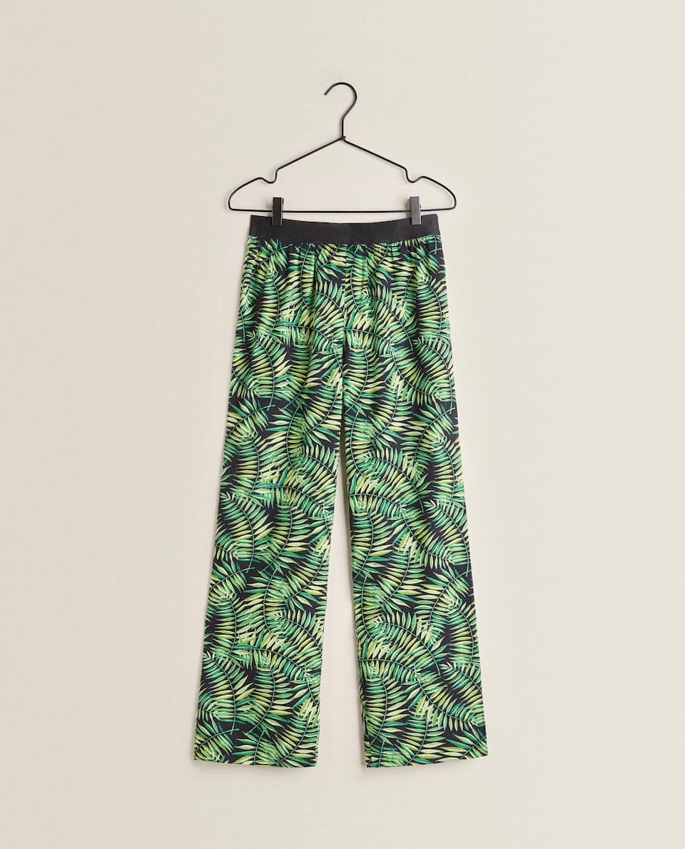 TROPICAL PRINT FLOWING TROUSERS