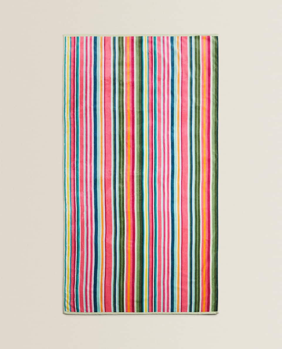 MULTICOLOURED STRIPE BEACH TOWEL