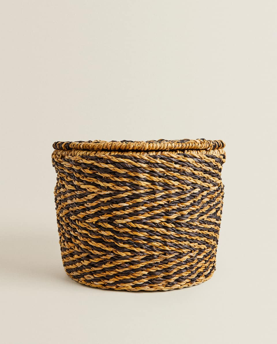 LOW RATTAN BASKET WITH LID