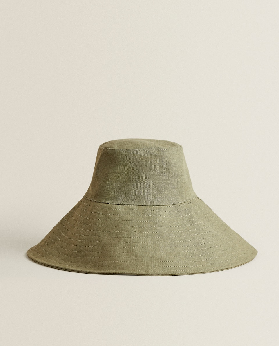 KHAKI HAT WITH ADJUSTABLE BRIM