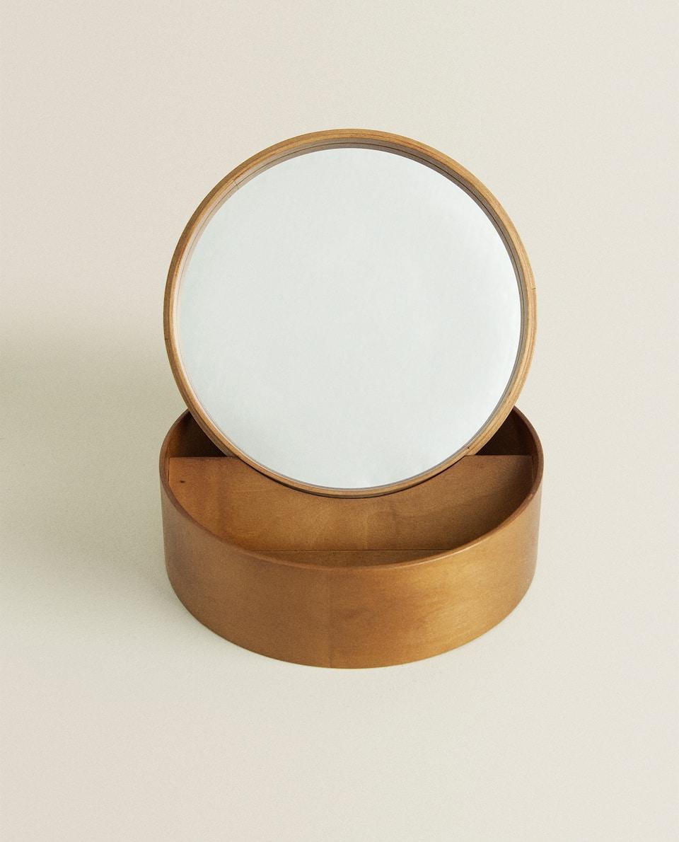 علبة مجوهرات خشبية بتصميم دائري