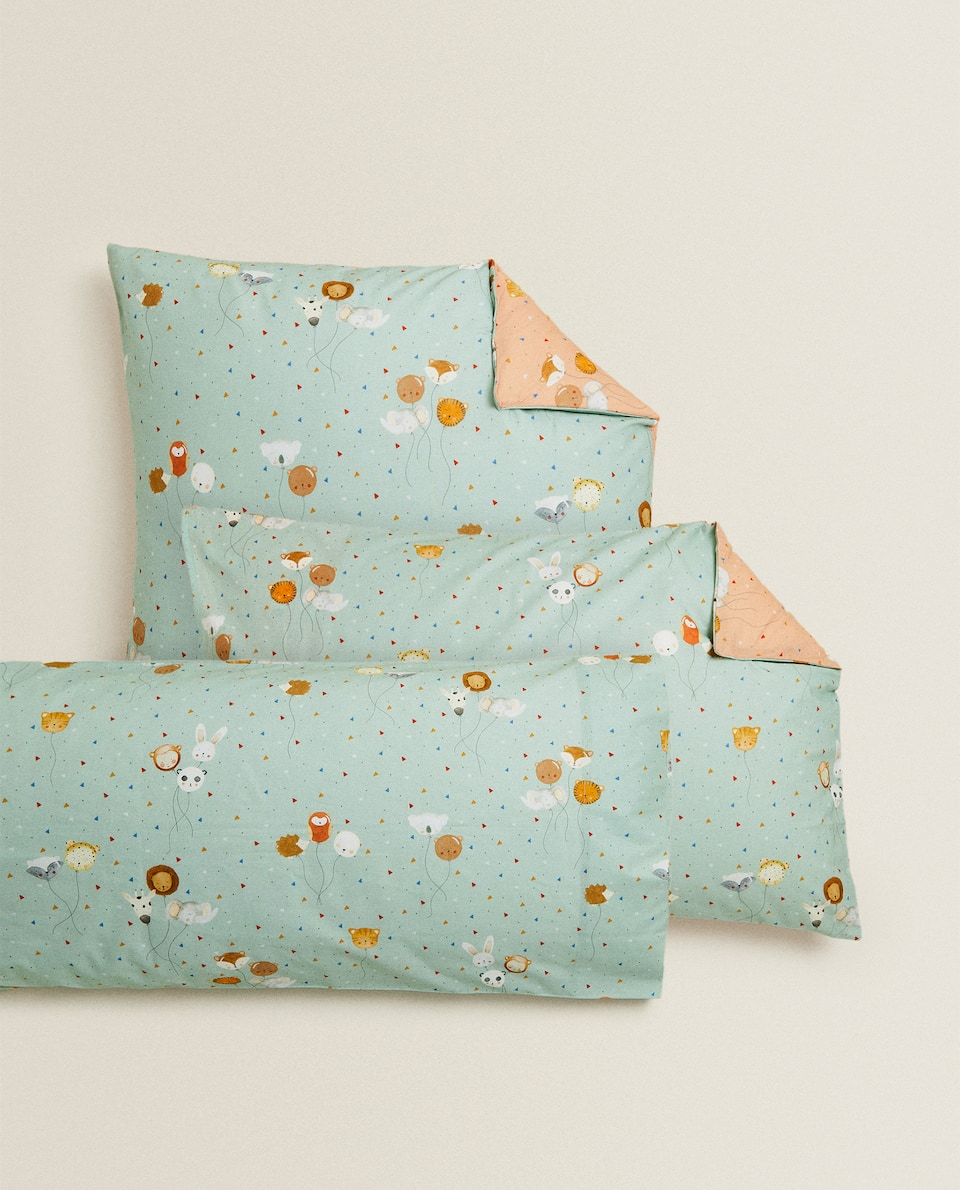 REVERSIBLE BALLOON PRINT PILLOWCASE